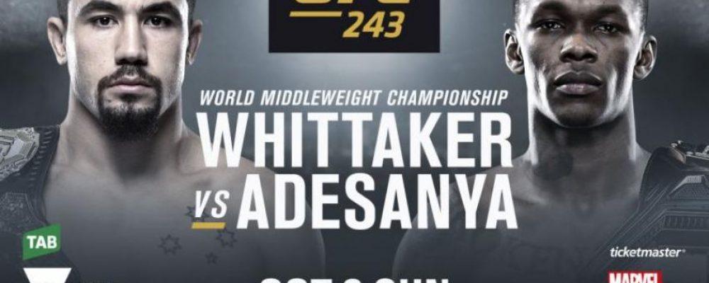 Прямая трансляция UFC 243: Роберт Уиттакер — Исраэль Адесанья